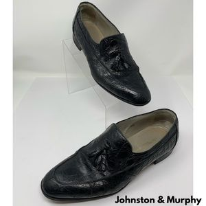 Johnston & Murphy Black Crocodile Dress Shoes